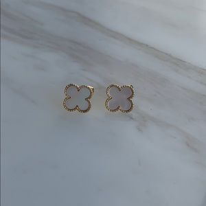 Large white mother of pearl clover earrings w gold